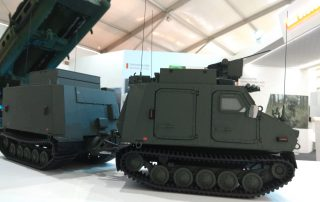 Tanks at the defence expo inaugurated by Mitri robot